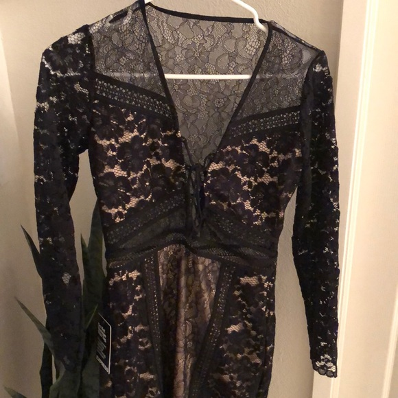 Express Dresses & Skirts - Express black lace, long sleeved dress NWT